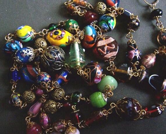 Vintage Venetian Art Glass Bead Necklace Lariat Belt OOAK