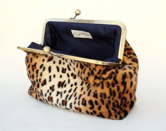 Clutch Purse - Faux Leopard and Navy Retro Modern