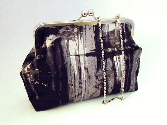 Black Gray White and Pink Clutch Purse Evening Wedding Bag