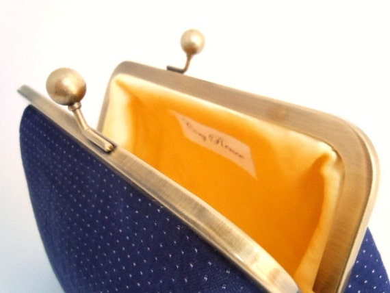 Navy Blue Polka Dots and Yellow Sating Clutch Purse Bag Small