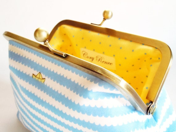 Ahoy Cosmetic Clutch Purse with Blue Waves and Yellow Boats and Polka Dot Interior