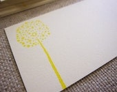 Set of 10 - Gift Cards or Thank Yous - Business Card Size - Dandelion Stamped