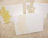Hand Stamped Lace Floral Escort / Place Cards - Set of 10