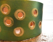 EMERALD ECLIPSE - - - Leather Cuff - - - FREE SHIPPING - - -