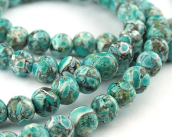28pcs of 6.0mm ocean green Turquoise Round Beads