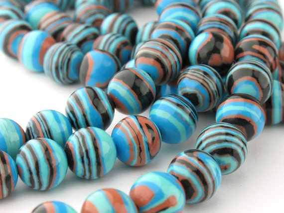 10pcs of 8.0mm Blue Strip Synthetic Round Beads