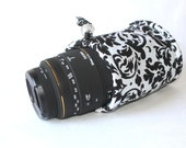 Camera lens case for DSL camera white and black damask print monogramming included