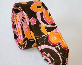 Monogramming included Camera Strap for DSL Camera Brown, Orange and Pink Funky Floral Print