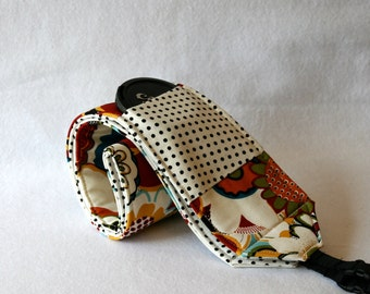 Ready to Ship Monogramming not available  Wide Camera Strap for DSL camera Funky Print  lens cap pocket