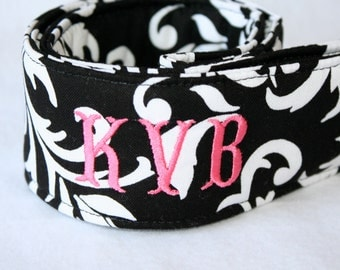 Monogramming Included Camera Strap for DSL Camera Black and White Scroll Print