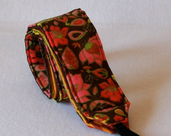 Monogramming included Camera Strap for DSL Camera Brown Floral Print with Stripe reverse