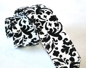 Monogramming Included Camera Strap for DSL Camera White and Black Damask  Print