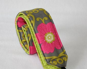 Ready to ship Monogramming Not Available Camera Strap for DSL Grey Lime and Hot Pink Fun Floral Print with a lime reverse