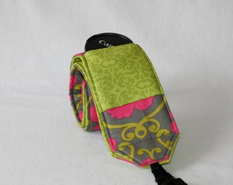 Ready to ship monogramming not available Wide Camera Strap for DSL camera Grey Hot Pink and Lime print with lens cap pocket