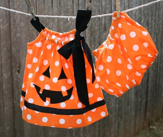 Infant or Toddler Jack o Lantern Pillow Case Dress dress with matching Bloomers
