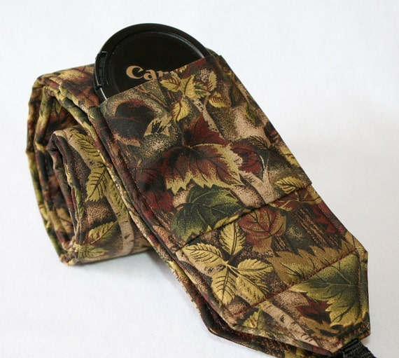 Monogramming Included Woodland Print Fabric Wide Camera Strap for DSL camera with lens cap pocket