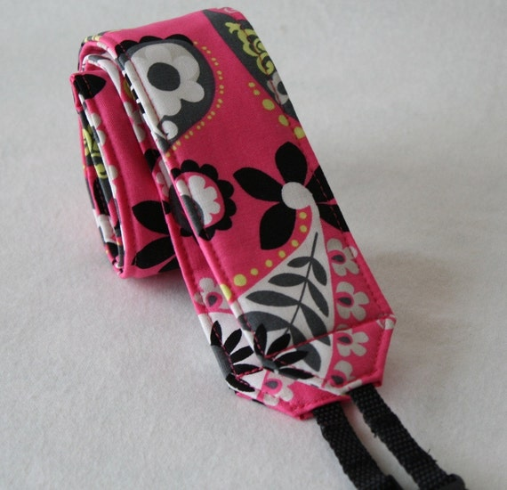 Ready to ship Monograming not available Camera Strap for DSL Camera Hot Pink,White and Black Paisley Print