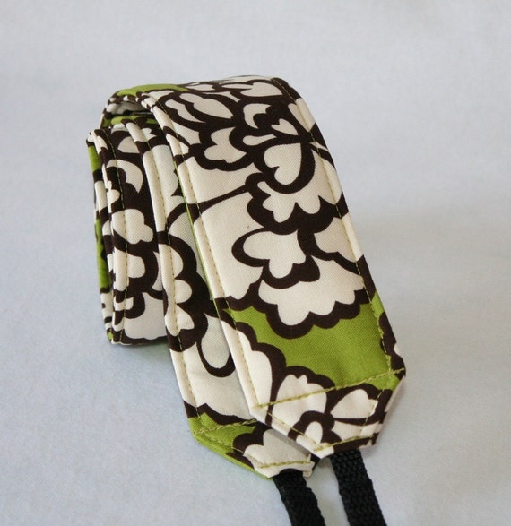 Ready to ship monograming not available Camera Strap for DSL Camera Grass Green,Brown and Cream Floral Print