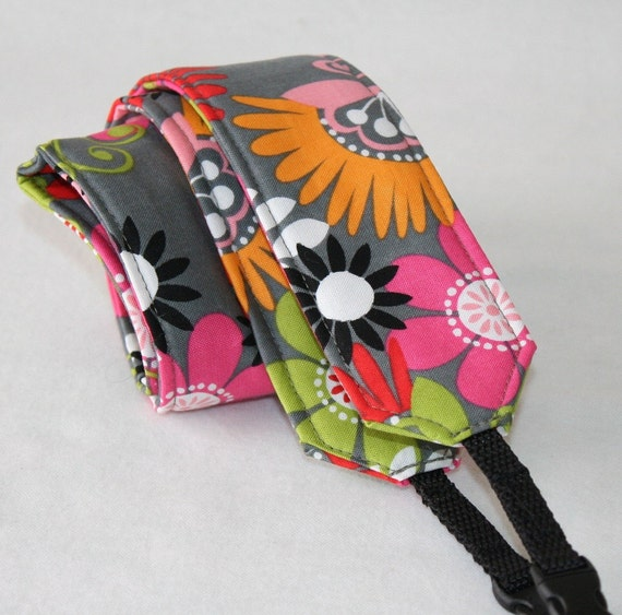 Ready to ship Camera Strap for DSL Camera Grey, Hot Pink, Orange and Lime Funky Floral Print