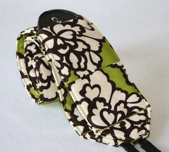 Wide Camera Strap for DSL camera grass green, brown and cream floral with lens cap pocket Monogramming  included