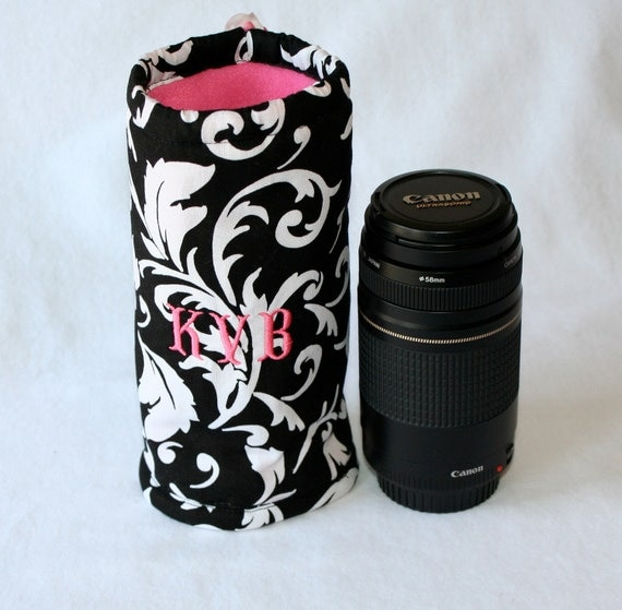 Camera  zoom lens case for DSL camera  black and white scroll print Custom Monogramming included