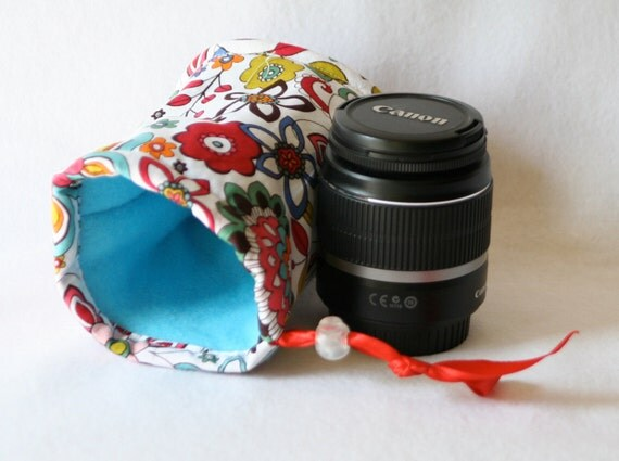Camera lens case for DSL camera turquoise, red  and orange funky floral print monogramming included