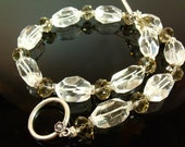 Crystal clear quartz rhinestone sterling silver wedding necklace earrings jewelry set