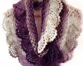 Lace crochet scarf ruffle capelet prayer shawl purple white Victorian