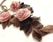 "Freeform crochet lariat scarf with flowers and leaves dust pink brown ""Dust Roses"""