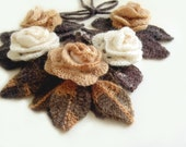 Crochet scarf necklace freeform flowers and leaves cream white mocha chocolate brown