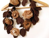 Flower scarf crochet freeform flowers leaves lariat necklace or belt