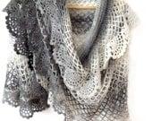 Crochet shawl, Lace crochet stole, Crochet scarf, Cape shawl, Crochet stole, Crochet capelet, Shawl with frill, Grey white black