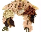 Crochet long scarf lariat 3D freeform flowers leaves buff amber brown camel chocolate brown