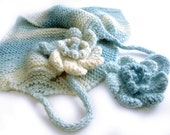 SALE, Knit Cowl, Knit Neckwarmer, Knit cowl scarf, Scarf with flowers, Knit Headband, Infinity scarf, Circle scarf, Winter scarf, Wool blend