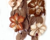 Scarf lariat necklace or belt 3D freeform felt flowers leaves taupe white mustard amber brown vanilla Victorian