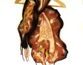 Nuno felt wool scarf with ruffle and fringe chiffon silk chocolate brown peach amber honey mustard