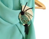 "Leather brooch with Agate white turquoise blue black art deco ""Ocean Fantasy"""