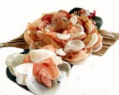 Wrist corsage. Leather bracelet with silk flowers and stones. Boho chic wedding cuff. Valentine