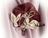 Leather brooch with Agate. Boho art deco. Prom wedding. Burgundy purple amethyst pearly white. Valentine