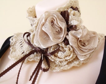 Crochet cowl, Victorian Collar, Scarflette, Freeform crochet, Crochet collar with flowers, Victorian cape, Romantic Lolita, Wedding Bridal