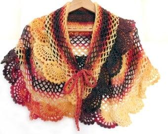 Crochet cape, Crochet poncho, Lace crochet shawl, Ruffle cape, Bridal cape, Victorian cape, Crochet stole, Fashion trend, Short poncho