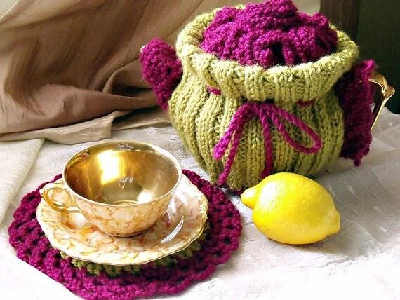 ON SALE SALE Knit crochet tea cozy olive green raspberry