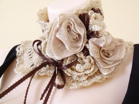 Custom Order in Black and Red. Crochet scarflette cowl, Freeform crochet flowers, Crochet collar, Victorian cape, Romantic Lolita,