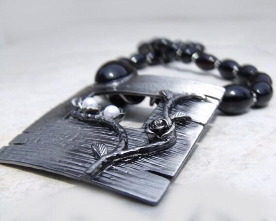 "Necklace black agate metal charm pendant ""Black Rose"" modern vintage style goth steampunk"