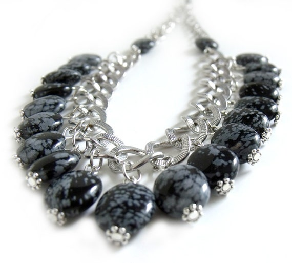 Snow obsidian black gray dangle chain necklace vintage style