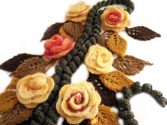 Scarf lariat, Freeform crochet, Lariat necklace, 3D crochet flowers, Gypsy hippie boho, Scarf necklace, Art to wear, Flowers and leaves