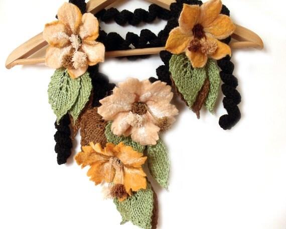 Scarf with felt flowers, freeform crochet lariat, leaf scarf, flower scarf, fall scarf, fall fashion trend, crochet necklace, felt flowers