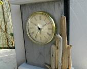 Sea Grey Clock Beach House Decor One of a Kind Driftwood Artwork