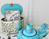 Home Decor Vintage Accessories Instant Collection of 4 Distressed Vibrant Turquoise Dresser  Pieces for Spring Decorating