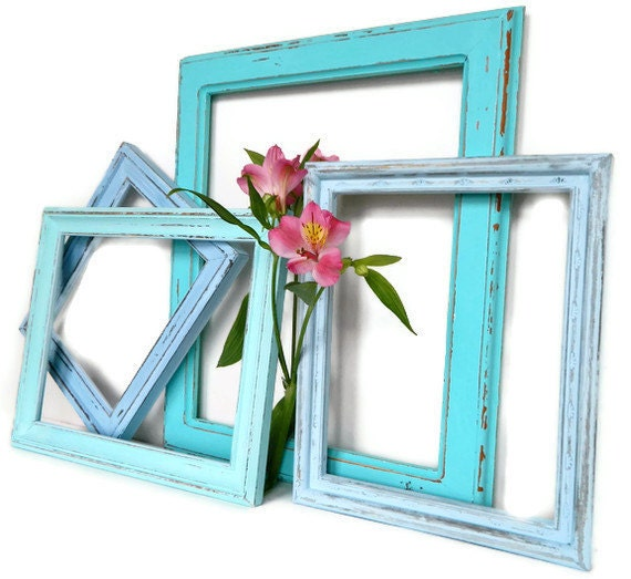 Shabby Chic Aqua Beach House Wall Frames  Instant Collection perfect Pop of Color for Spring 2012 Home Decor